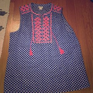 J Crew blue and coral summer top (size 8)